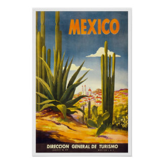 Viagens vintage, México Poster