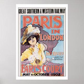 Viagens vintage Paris em Londres Poster