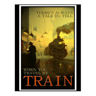 Viagens vintage pelo trem cartão postal