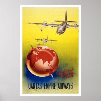 Viagens vintage, vias aéreas do Quantas-Império Poster