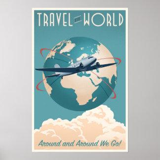 Viaja o mundo - no estilo do vintage poster