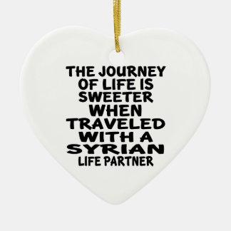 Viajado com um sócio sírio da vida ornamento de cerâmica coração