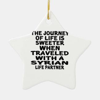 Viajado com um sócio sírio da vida ornamento de cerâmica estrela