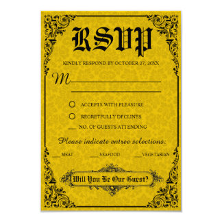 Victorian gótico que Wedding cartões de RSVP Convite 8.89 X 12.7cm