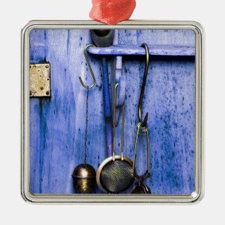 vida de silencioso de culinário em azul ornamento quadrado cor prata