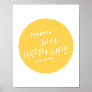 Vida feliz da esposa feliz que diz o impressão do