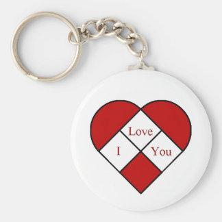"""Vidro """"eu te amo"""" coração da mancha chaveiro"""