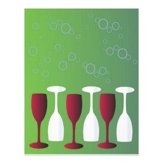Vidros de vinho panfletos