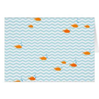 Viga azul lunática com peixes do ouro cartão comemorativo