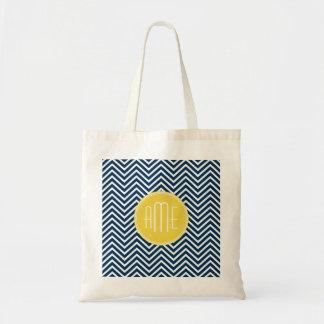 Vigas dos azuis marinhos com monograma amarelo fei bolsa tote