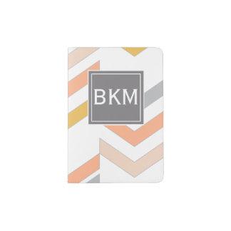 Vigas retros modernas teste padrão, monograma, capa para passaporte