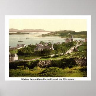 Vila de Killybegs, vintage Donegal Ireland Poster