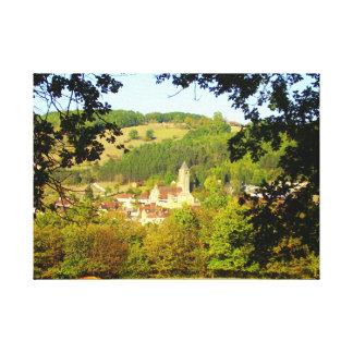 Vila medieval do impressão das canvas de Plazac