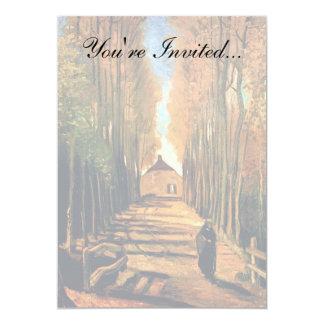 Vincent van Gogh - avenida dos álamos no outono Convite 12.7 X 17.78cm