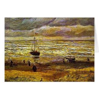 Vincent van Gogh, praia com figuras e mar com Cartão Comemorativo