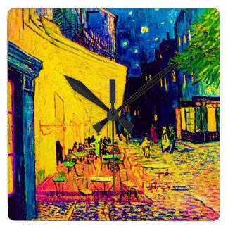 Vincent van Gogh - terraço do café no pop art da Relógios De Pendurar