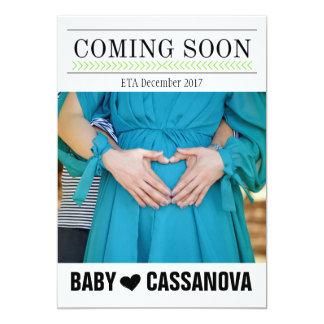 Vinda logo anúncio da foto da gravidez do bebê convite 12.7 x 17.78cm