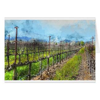 Vinhas em seguido em Napa Valley Califórnia Cartão Comemorativo