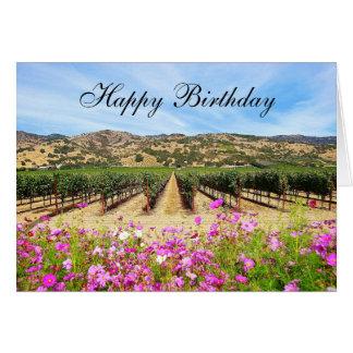 Vinhedo de Napa Valley do feliz aniversario Cartão Comemorativo