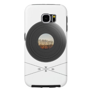 Vinil/disc print with tree label&WoodBrick writing Capas Samsung Galaxy S6