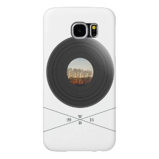Vinil/disc print with tree label&WoodBrick writing Capas Samsung Galaxy S6