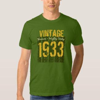 vintage 1933 do presente de aniversário do 80 o tshirts