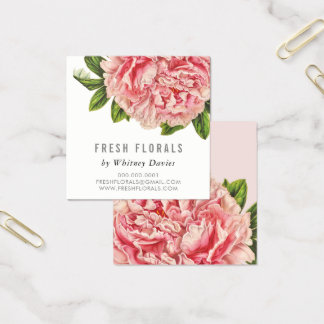 Vintage à moda da flor COR-DE-ROSA BOTÂNICA da Cartão De Visitas Quadrado