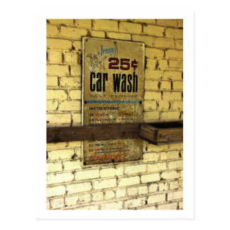Vintage abandonado do sinal do lavagem de carros cartão postal