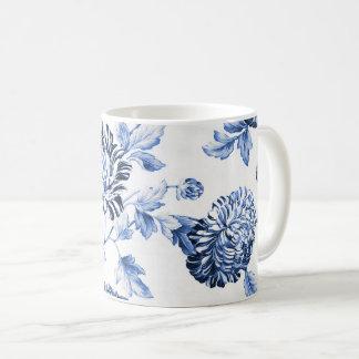 Vintage azul & branco Toile floral No.2 Caneca De Café