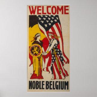 Vintage Bélgica nobre bem-vinda Pôster