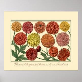 Vintage botânico com verso da escritura pôsteres
