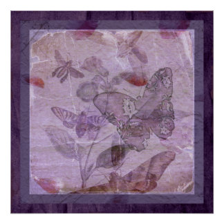 Vintage Butterfiles e Botanicals Poster