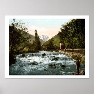 Vintage cachoeira do piqué de France, rio Poster