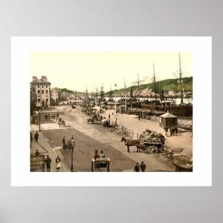Vintage cais da cidade de Ireland, Waterford Poster