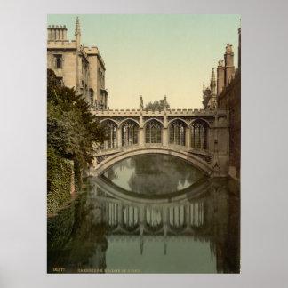 Vintage Cambridge Inglaterra, ponte dos suspiros Poster