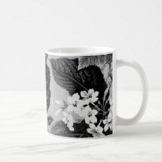 Vintage cinzento preto & branco Toile floral No.1 Caneca De Café