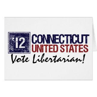Vintage Connecticut do libertário do voto em 2012 Cartão