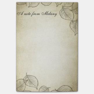 Vintage contemporâneo chique elegante da folha bloquinho de notas