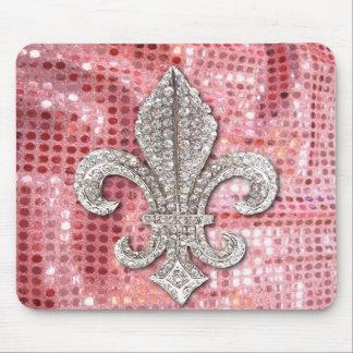 Vintage cor-de-rosa da flor de lis da jóia da faís mousepads