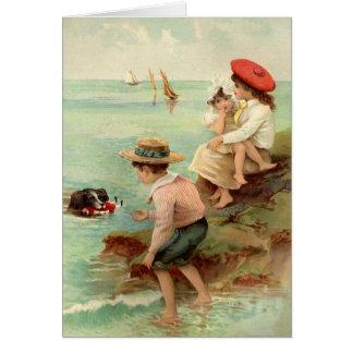 Vintage - crianças na praia cartões