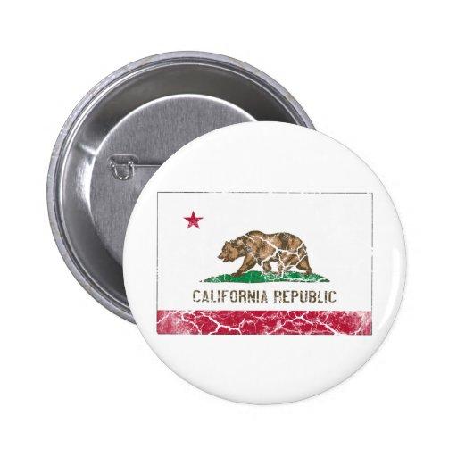 Vintage da bandeira do estado de Califórnia Bóton Redondo 5.08cm
