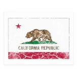 Vintage da bandeira do estado de Califórnia Cartão Postal