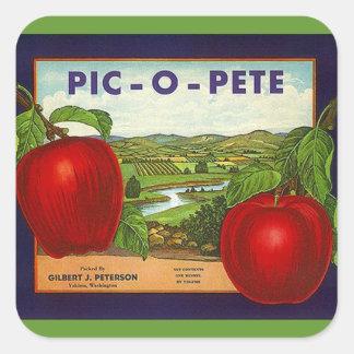 Vintage da etiqueta que anuncia maçãs de adesivo quadrado