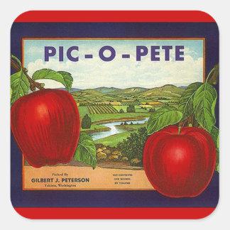 Vintage da etiqueta que anuncia maçãs de PIC-O-Pet Adesivo Quadrado