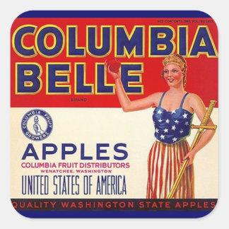 Vintage da etiqueta que anuncia maçãs do Belle de Adesivo Em Forma Quadrada