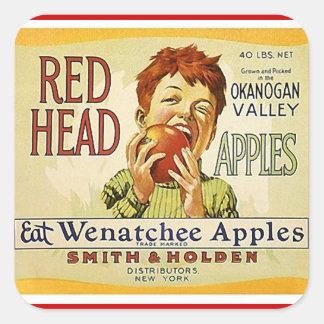 Vintage da etiqueta que anuncia maçãs principais adesivo quadrado