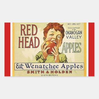 Vintage da etiqueta que anuncia maçãs principais adesivo retangular