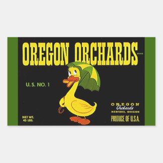 Vintage da etiqueta que anuncia o pato dos pomares adesivo retangular
