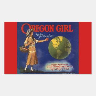 Vintage das etiquetas que anuncia maçãs da menina adesivo em formato retângular