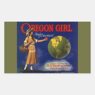 Vintage das etiquetas que anuncia maçãs da menina adesivos em formato retangulares